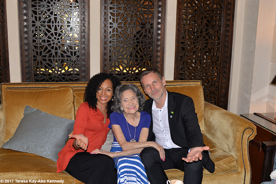 Teresa Kay-Aba Kennedy, 98-year-old yoga master Tao Porchon-Lynch and Matej Cer at Mina A 'Salam Resort in Dubai – February 14, 2017