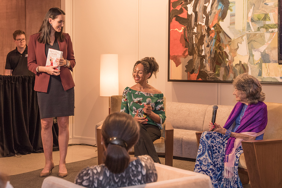 Conversation with a Master with 99-year-old yoga master Tao Porchon-Lynch and Teresa Kay-Aba Kennedy at The James Hotel NoMad in New York - October 3, 2017