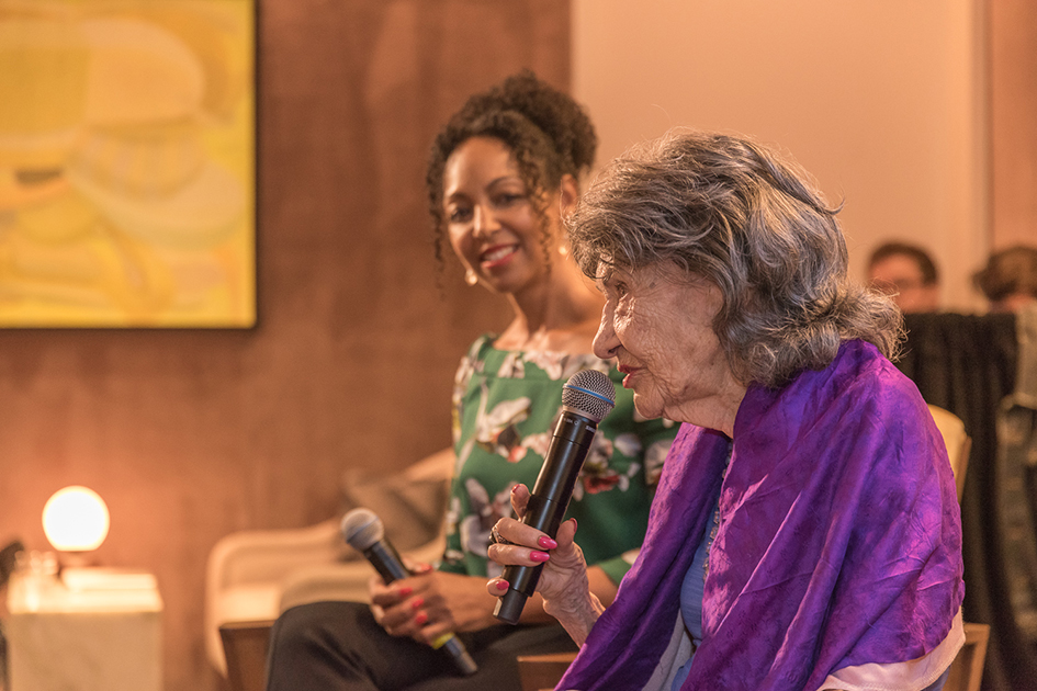 Teresa Kay-Aba Kennedy moderating Conversation with a Master with 99-year-old Tao Porchon-Lynch at The James Hotel - October 3, 2017