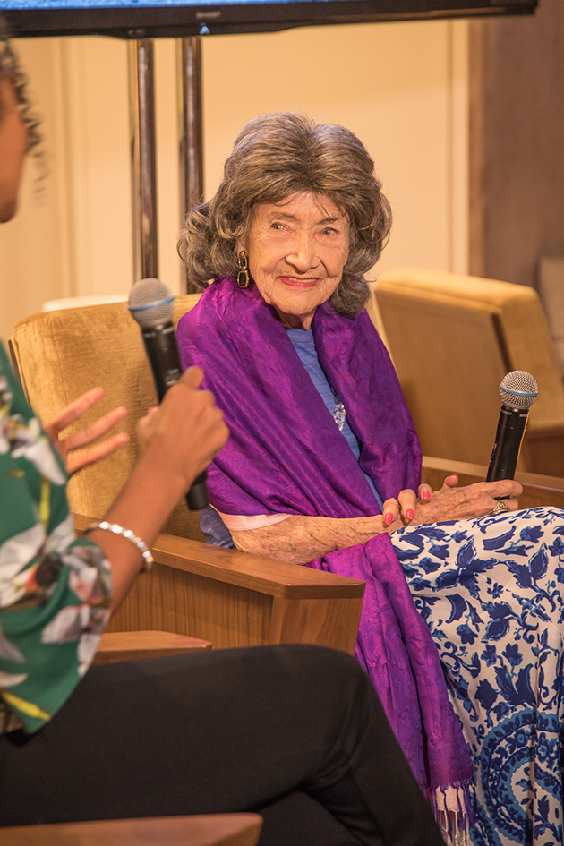 99-year-old yoga master Tao Porchon-Lynch and Teresa Kay-Aba Kennedy at Conversation with a Master event at The James Hotel - October 3, 2017