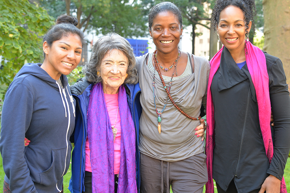 99-year-old yoga master Tao Porchon-Lynch, Ghylian Bell and Teresa Kay-Aba Kennedy in Madison Square Park with The James Hotel in New York - October 4, 2017