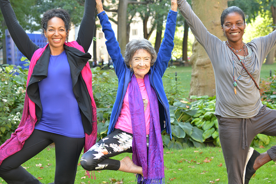 Teresa Kay-Aba Kennedy, 99-year-old yoga master Tao Porchon-Lynch and Ghylian Bell in Madison Square Park with The James Hotel in New York - October 4, 2017