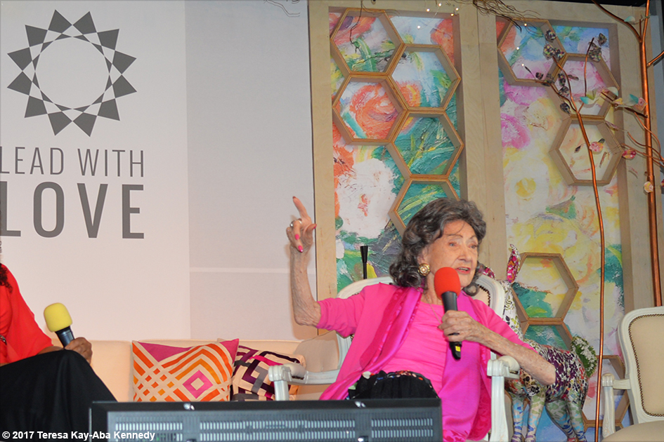 Conversation with a Master with 99-year-old Tao Porchon-Lynch and Teresa Kay-Aba Kennedy at the Lead With Love Conference in Aspen, Colorado - October 26, 2017