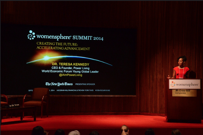 Teresa Kay-Aba Kennedy speaking at 2014 Womensphere event