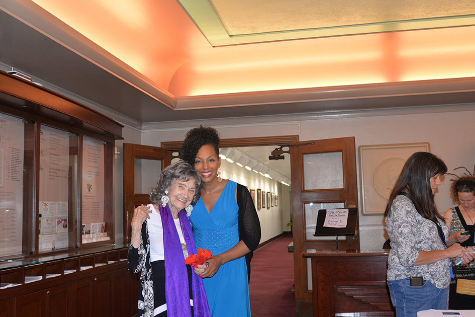 97-year-old yoga master Tao Porchon-Lynch and empowerment expert Teresa Kay-Aba Kennedy in Kansas City - August 28, 2015