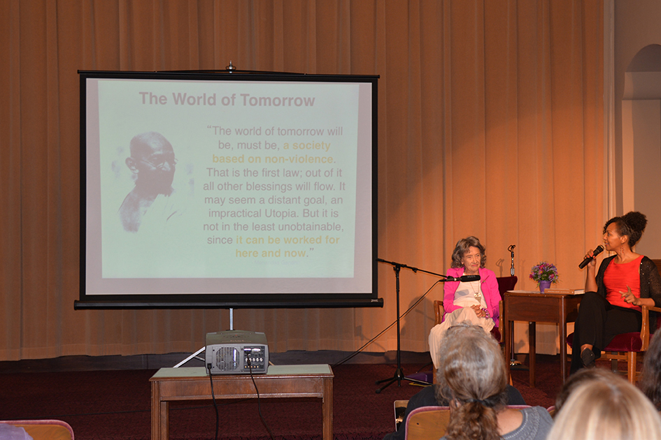 97-year-old yoga master Tao Porchon-Lynch and empowerment expert Teresa Kay-Aba Kennedy leading The Gandhi Effect workshop in Kansas City - August 29, 2015