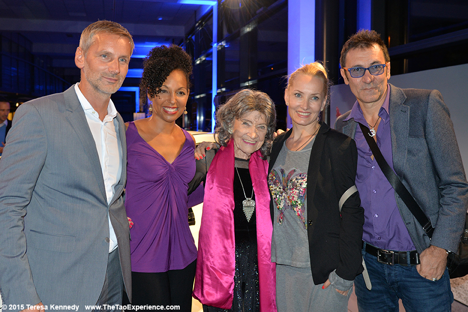 97-year-old yoga master Tao Porchon-Lynch with Matej Cer, Teresa Kay-Aba Kennedy, Branko Djuric and Tanja Ribic at Conversation with a Master event sponsored by the Young Executives Society (YES) and Mercedes in Slovenia's capital city of Ljubljana, October 8, 2015