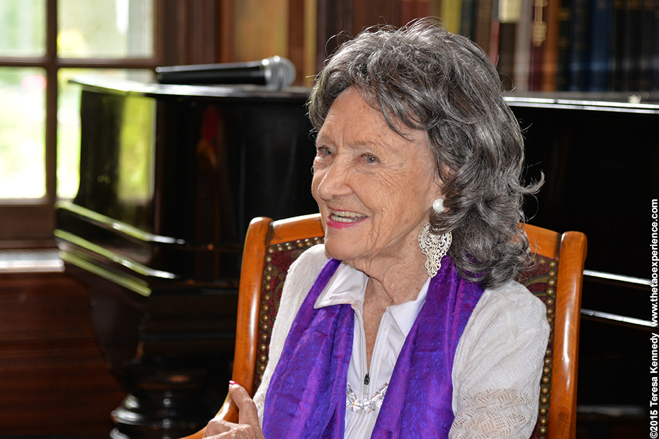 96-year-old yoga master Tao Porchon-Lynch presenting for Conversation with a Master event at Wainwright House in Rye, NY–June 16, 2015