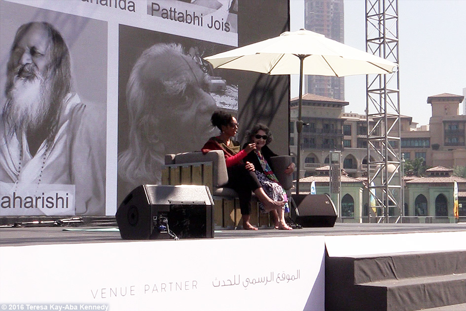97-year-old Yoga Master Tao Porchon-Lynch and Teresa Kay-Aba Kennedy sharing Conversation with a Master at XYoga Dubai Festival – February 20, 2016