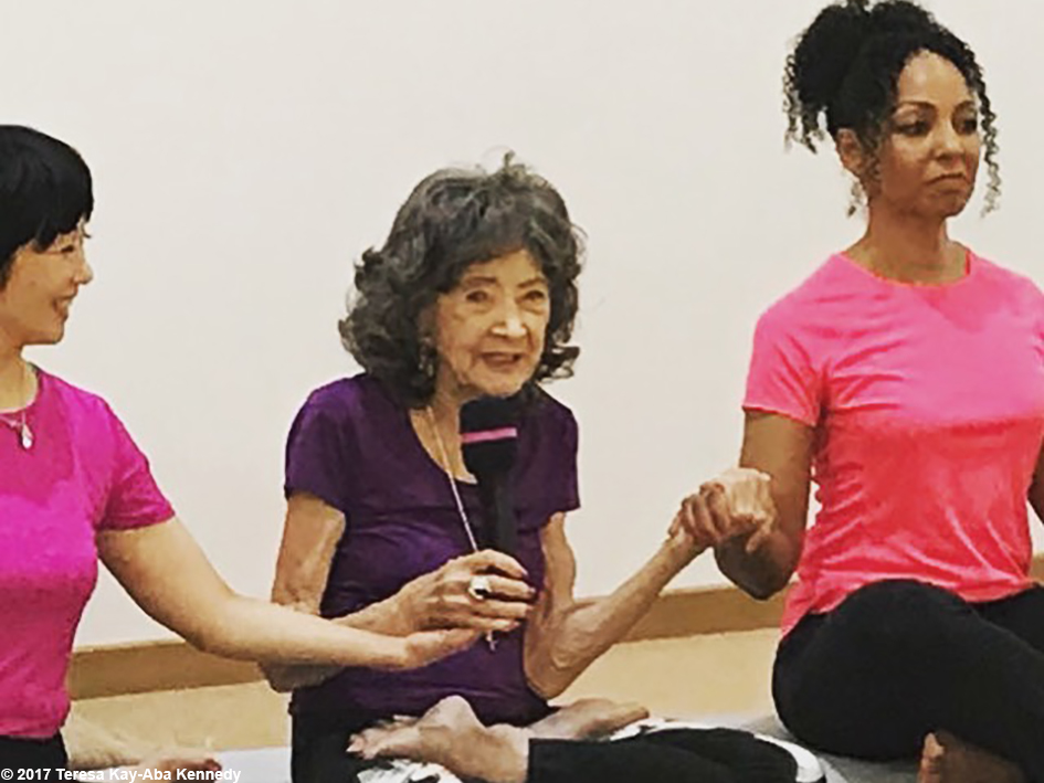 Regina Lee, 99-year-old yoga master Tao Porchon-Lynch and Teresa Kay-Aba Kennedy in Guangzhou, China - December 17, 2017