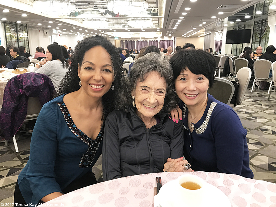 Teresa Kay-Aba Kennedy, 99-year-old yoga master Tao Porchon-Lynch and Regina Lee in Hong Kong - December 16, 2017