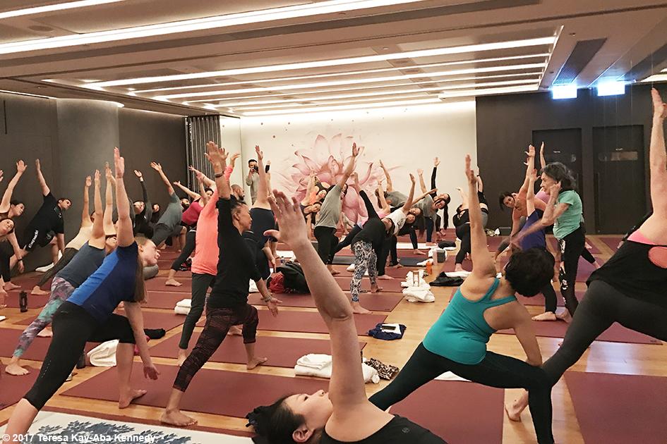 98-year-old yoga master Tao Porchon-Lynch at Pure Yoga in Hong Kong - December 18, 2017