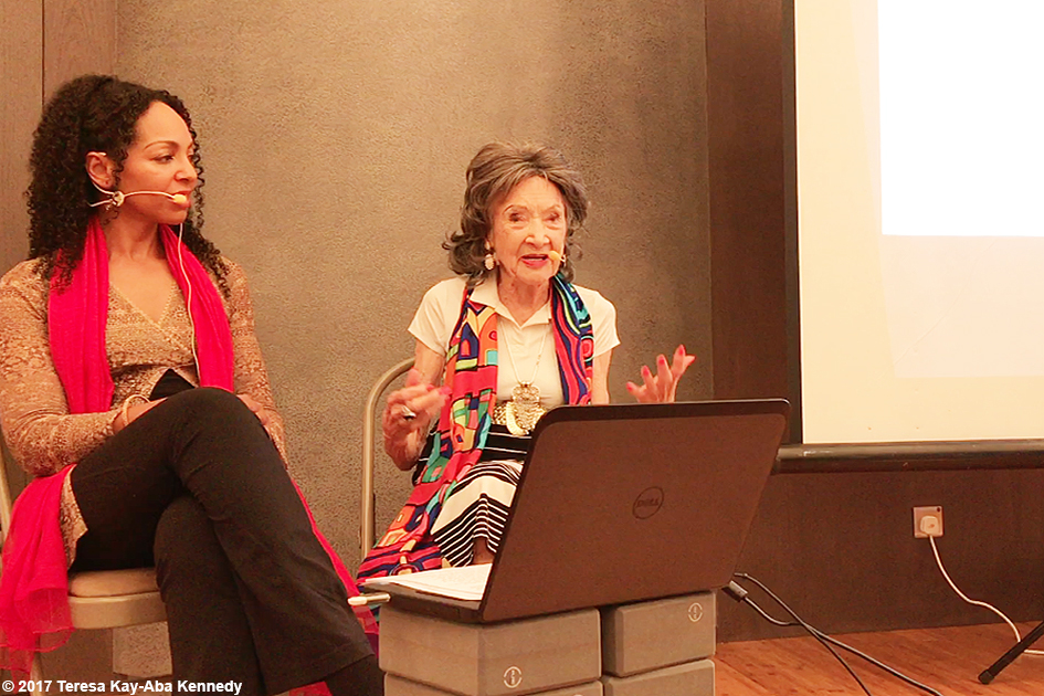 Teresa Kay-Aba Kennedy moderating The Gandhi Effect with 99-year-old yoga master Tao Porchon-Lynch at Pure Yoga in Hong Kong - December 18, 2017