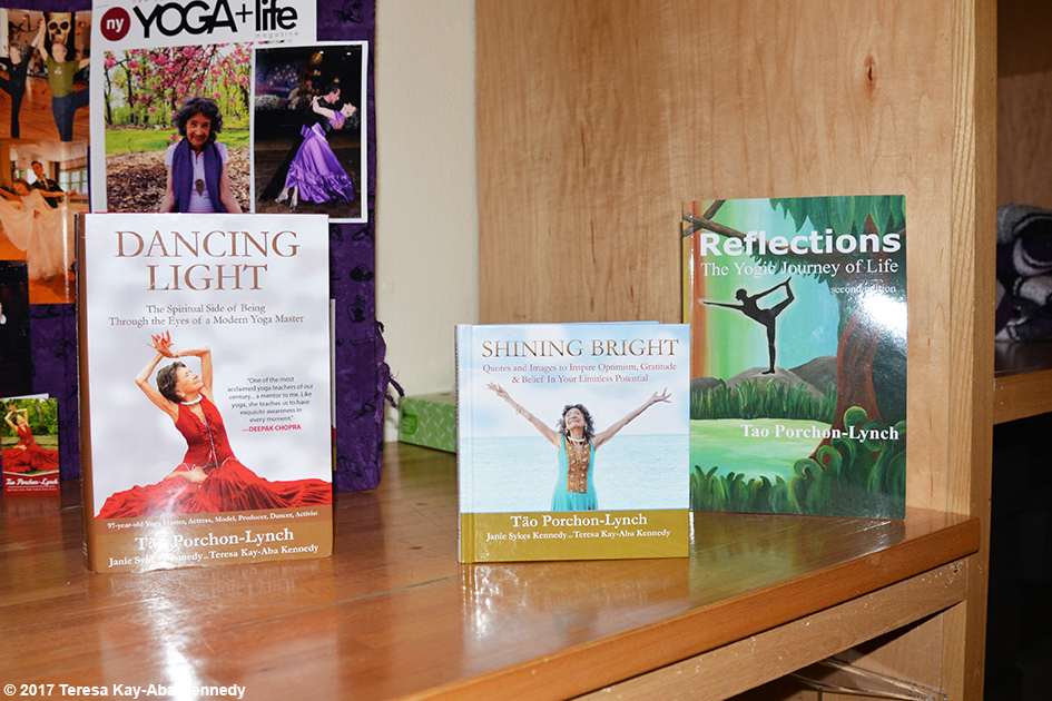 99-year-old Tao Porchon-Lynch's books on display at Kripalu Center for Yoga & Health in Lenox, MA - December 2, 2017