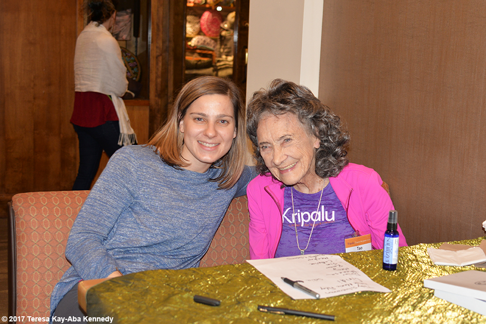 99-year-old yoga master Tao Porchon-Lynch doing book signing at Kripalu Center for Yoga & Health in Lenox, MA - December 2, 2017