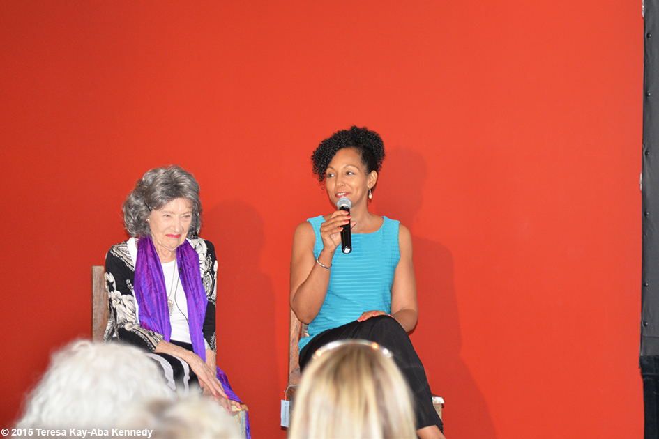 Teresa Kay-Aba Kennedy moderating Conversation with a Master with 96-year-old yoga master Tao Porchon-Lynch at Breathe Yoga in Rochester, NY - July 2015