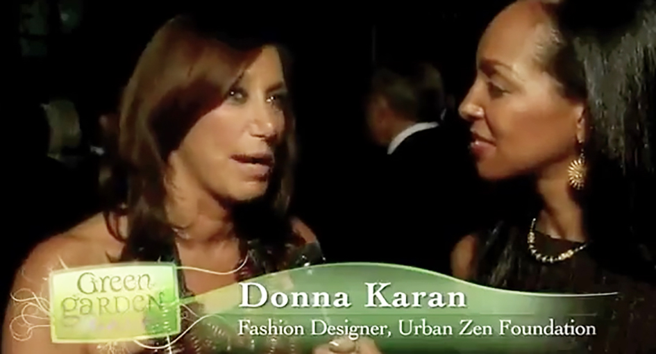 Teresa Kay-Aba Kennedy interviewing designer Donna Karan at the HealthCorps Green Garden Gala in New York - April 20, 2009
