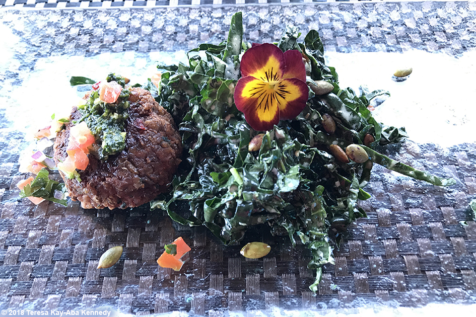 Food at Mariposa Restaurant for luncheon with 99-year-old yoga master Tao Porchon-Lynch as part of the Sedona Yoga Festival – February 8, 2018