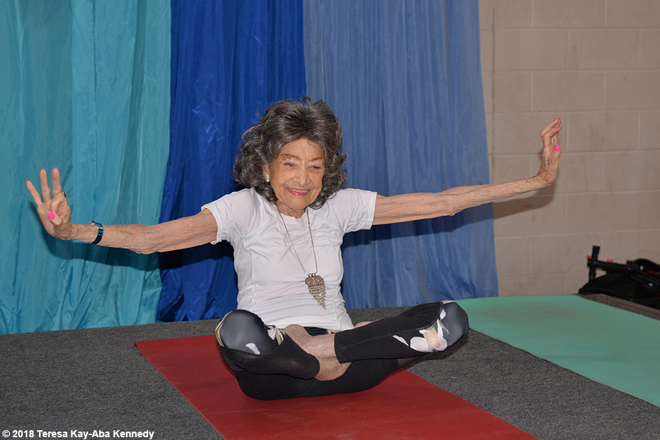 99-year-old yoga master Tao Porchon-Lynch teaching at the Sedona Yoga Festival – February 10, 2018