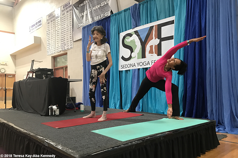 99-year-old yoga master Tao Porchon-Lynch and Teresa Kay-Aba Kennedy at the Sedona Yoga Festival – February 10, 2018