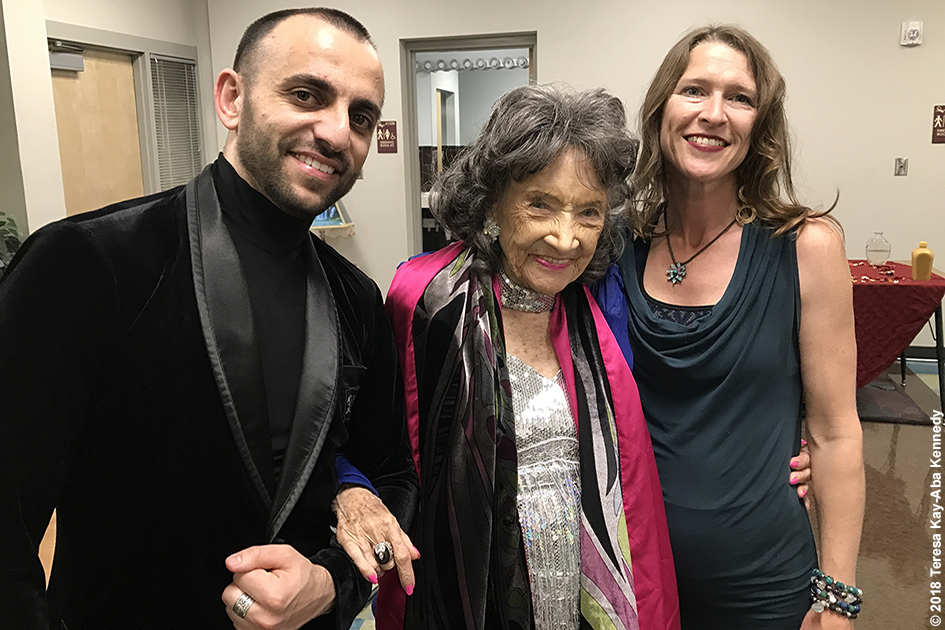 Vard Margaryan, 99-year-old yoga master Tao Porchon-Lynch and Heather Titus at the Sedona Yoga Festival – February 10, 2018