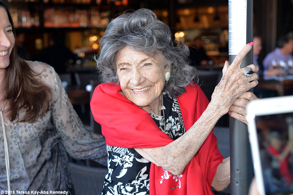 99-year-old yoga master Tao Porchon-Lynch at Mariposa Restaurant luncheon as part of the Sedona Yoga Festival – February 8, 2018