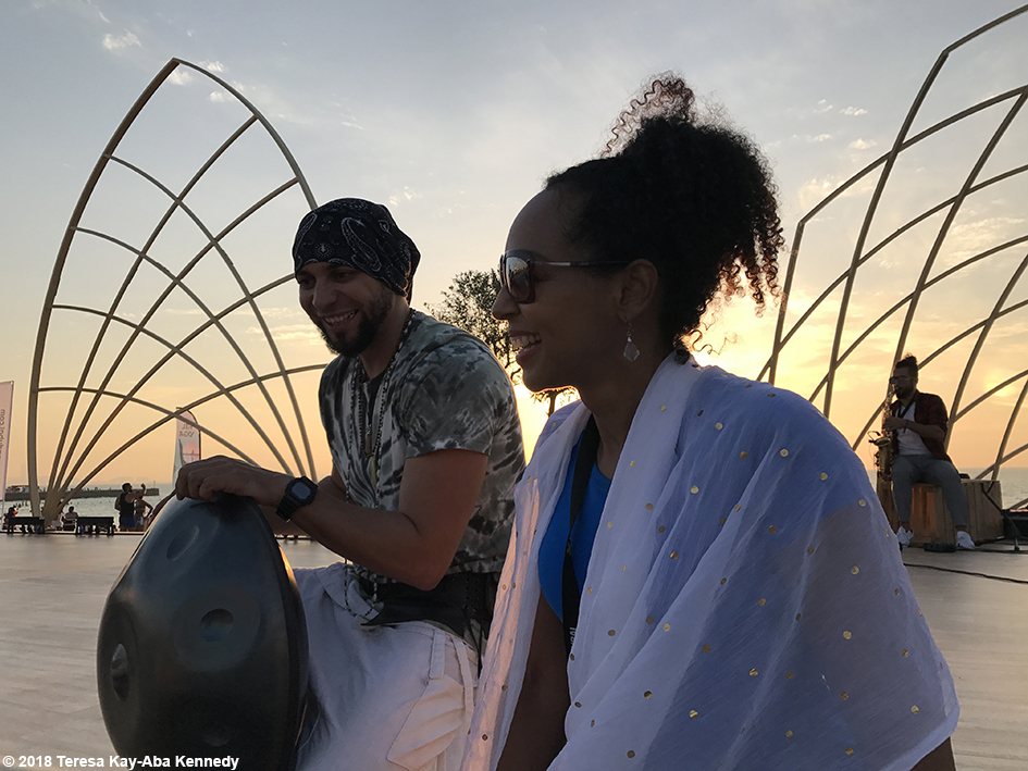 Teresa Kay-Aba Kennedy and Egyptian musical Sherif El Moghazy at the XYoga Dubai Festival on Kite Beach - March 16, 2018