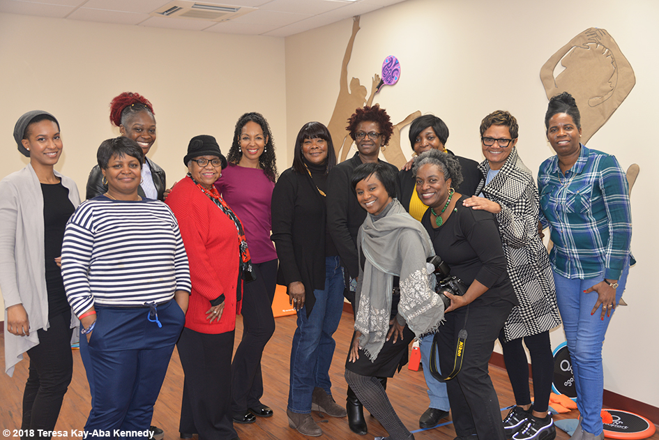 Participants in Teresa Kay-Aba Kennedy's Play Up Your Power! session at the Berean Community & Family Life Center Annual My sister, My Friend Women's Empowerment Conference & Health Fair in Brooklyn, NY - March 24, 2018