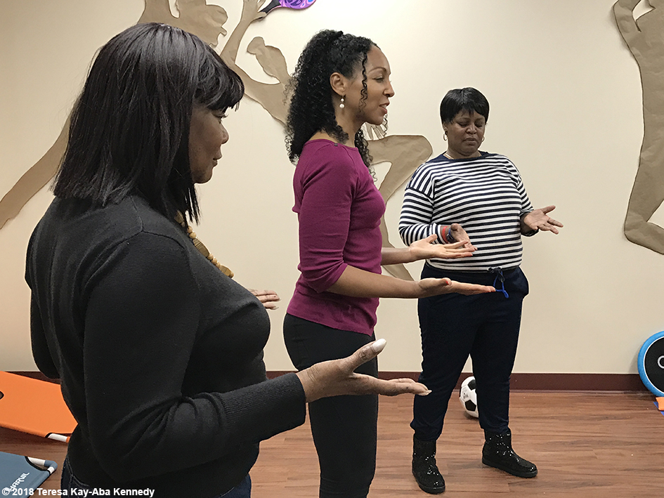 Teresa Kay-Aba Kennedy leading Play Up Your Power! at the Berean Community & Family Life Center Annual My sister, My Friend Women's Empowerment Conference & Health Fair in Brooklyn, NY - March 24, 2018