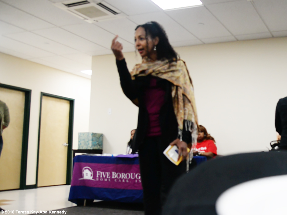 Teresa Kay-Aba Kennedy giving opening remarks for the Berean Community & Family Life Center Annual My Sister, My Friend Women's Empowerment Conference & Health Fair in Brooklyn, NY - March 24, 2018