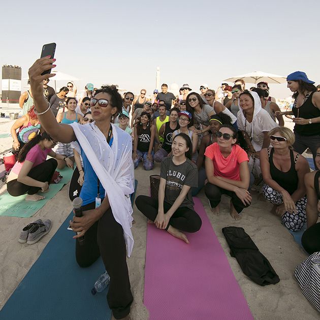 Teresa Kay-Aba Kennedy with class from her talk for XYoga Dubai Festival on Kite Beach - March 16, 2018