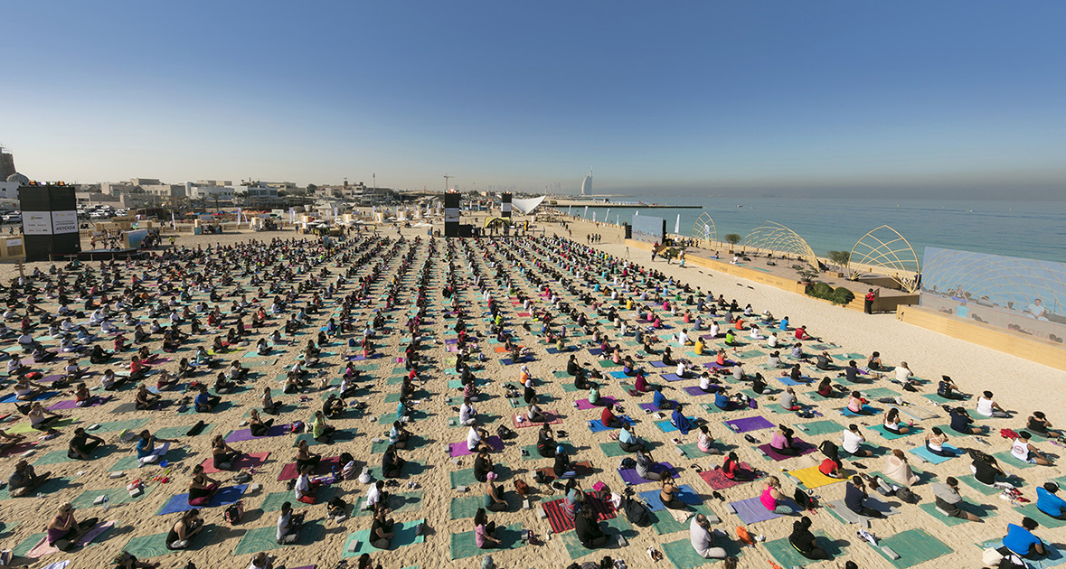 Opening Yoga session at XYoga Dubai Festival on Kite Beach - March 16, 2018