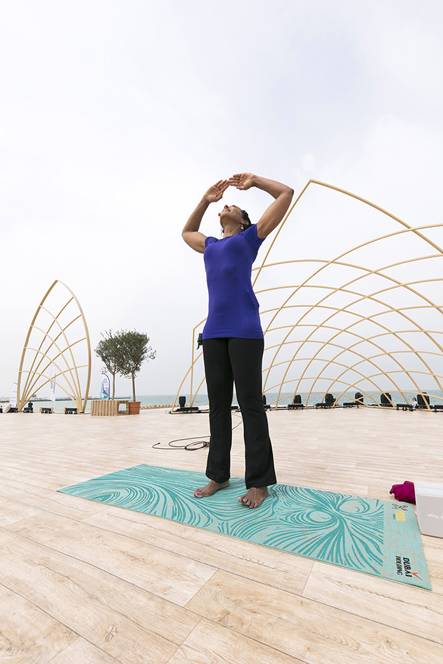 Teresa Kay-Aba Kennedy teaching her Blissful Vibrations class at the XYoga Dubai Festival on Kite Beach - March 17, 2018