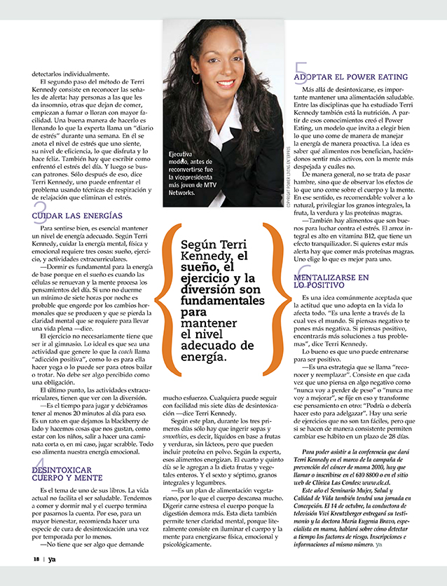 Teresa Kay-Aba Kennedy featured in El Mercurio in Chile