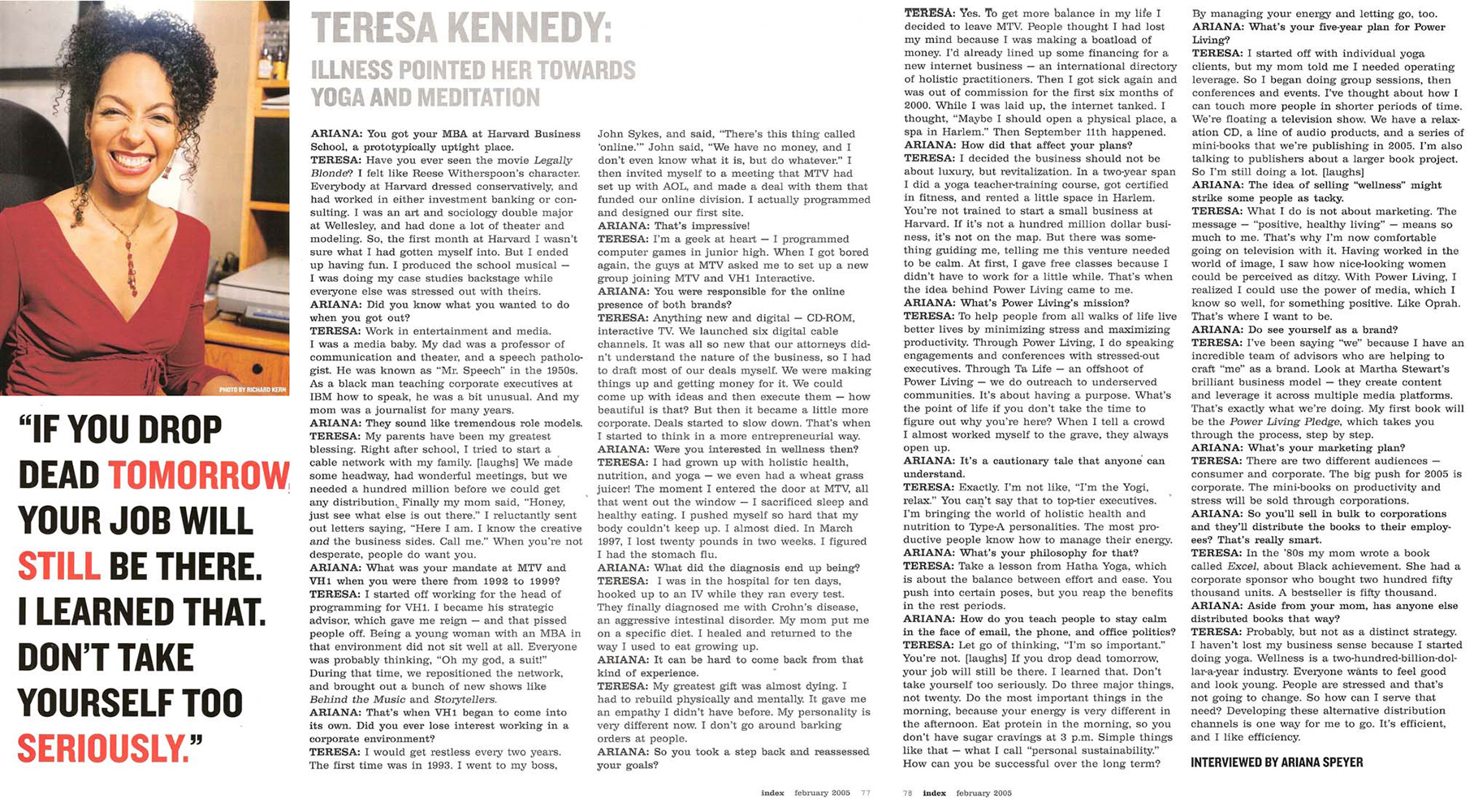 Teresa Kay-Aba Kennedy featured in Index Magazine