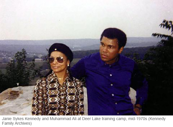 Janie Sykes-Kennedy and Muhammad Ali at Ali's training camp in the 1970s
