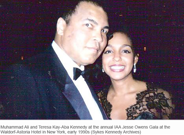Muhammad Ali and Teresa Kay-Aba Kennedy at the Jesse Owens Gala in the 1990s
