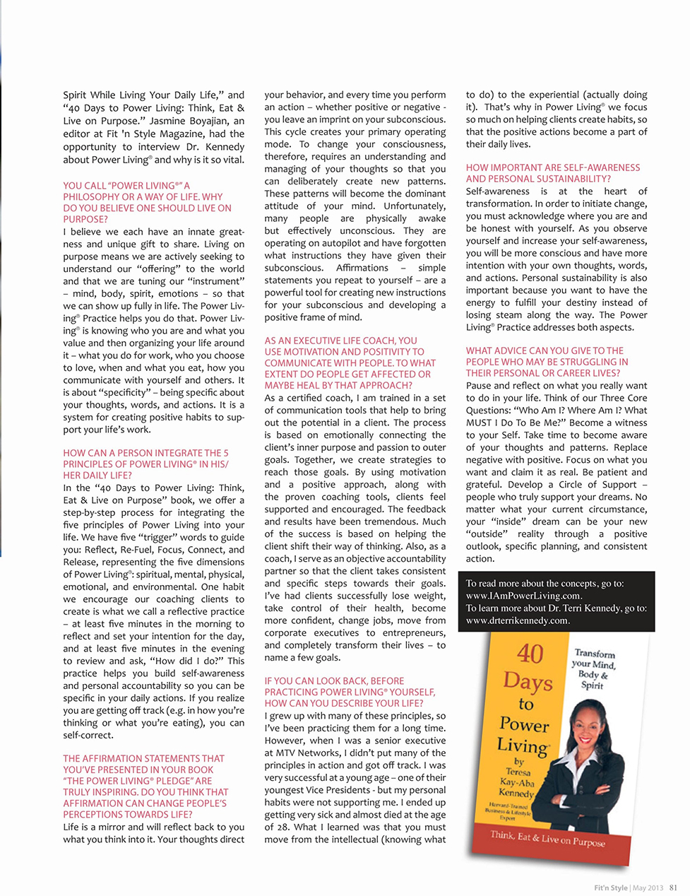 Teresa Kay-Aba Kennedy featured in Fit N'Style Magazine in Lebanon