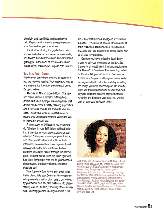 Teresa Kay-Aba Kennedy contributes to Pure Inspiration Magazine