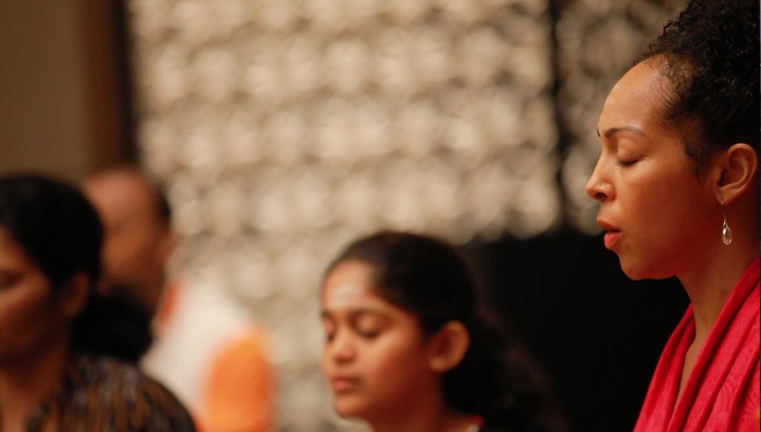 Teresa Kay-Aba Kennedy doing Ishtalinga Meditation in Bangalore, India - June 24, 2017