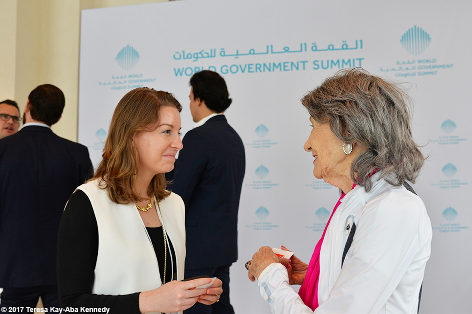 98-year-old yoga master Tao Porchon-Lynch with Young Global Leaders at the World Government Summit in Dubai - February 2017