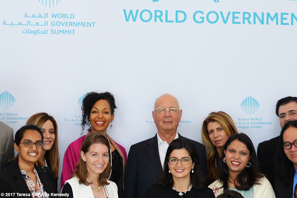 Teresa Kay-Aba Kennedy with Professor Klaus Schwab and fellow Young Global Leaders at the World Government Summit in Dubai - February 13, 2017