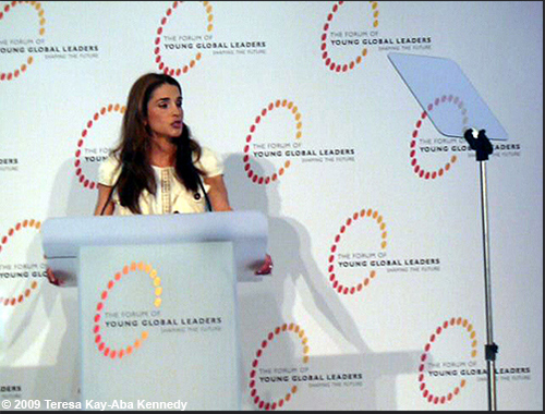 Queen Rania at the Young Global Leaders Dead Sea Summit in conjunction with the World Economic Forum on the Middle East in Jordan - May 2009