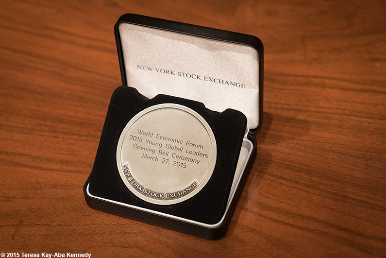 Token for Young Global Leaders at Opening Bell Ceremony of New York Stock Exchange – March 27, 2015
