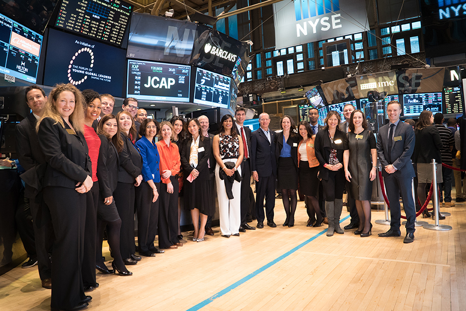 Teresa Kay-Aba Kennedy with fellow Young Global Leaders and World Economic Forum Members at Opening Bell Ceremony of New York Stock Exchange – March 27, 2015