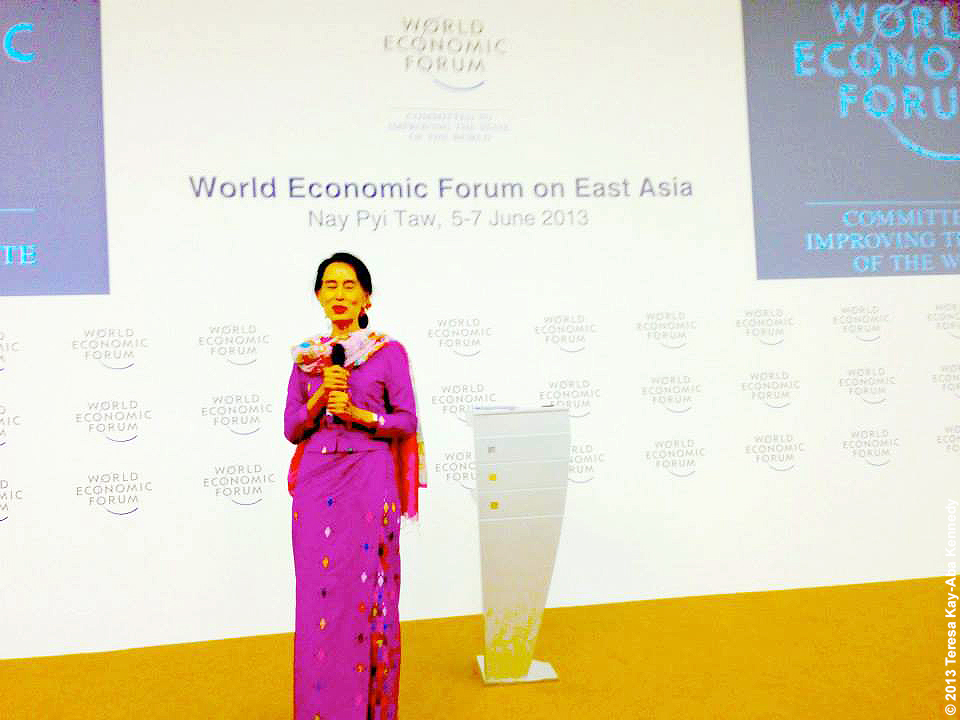 Nobel Peace Laureate Aung San Suu Kyi at the World Economic Forum on East Asia in Nay Pyi Taw, Myanmar - June 2013