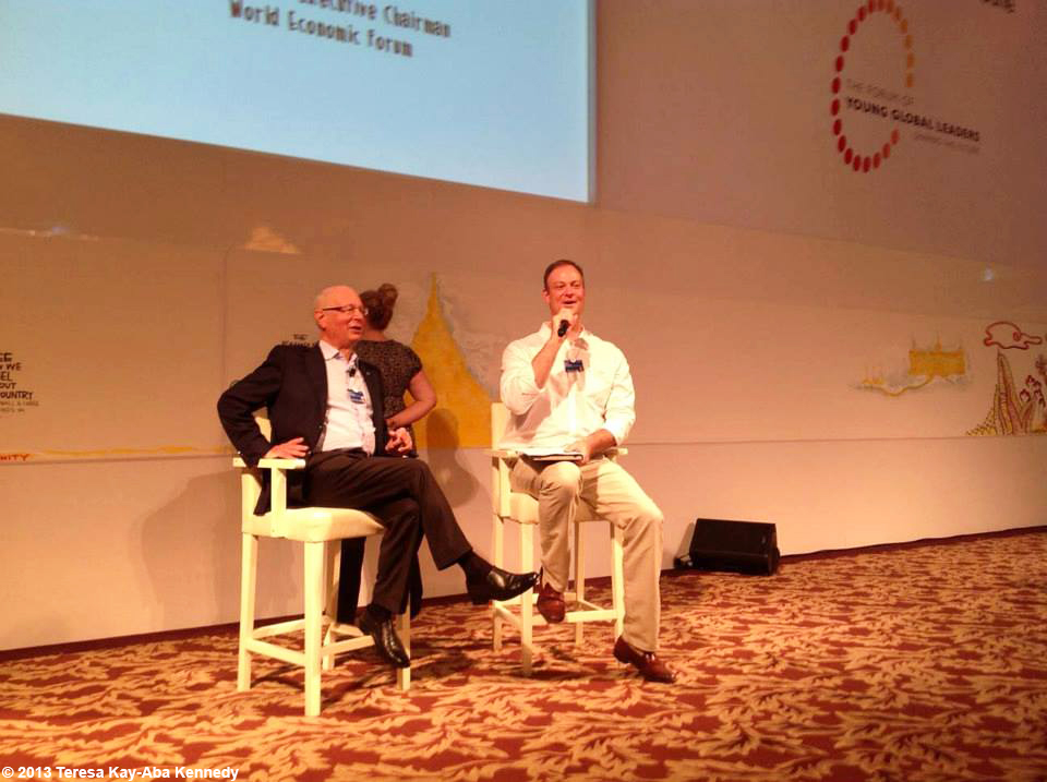Professor Klaus Schwab and David Aikman at Young Global Leader Summit in conjunction with the World Economic Forum on East Asia in Myanmar - June 2013