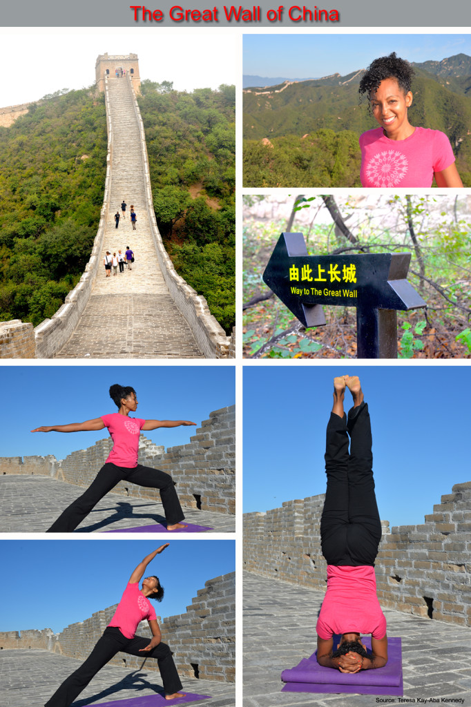 Teresa Kay-Aba Kennedy teaching yoga to global leaders on a private section of The Great Wall of China as part of the Young Global Leaders Summit in Beijing, China - September 2014