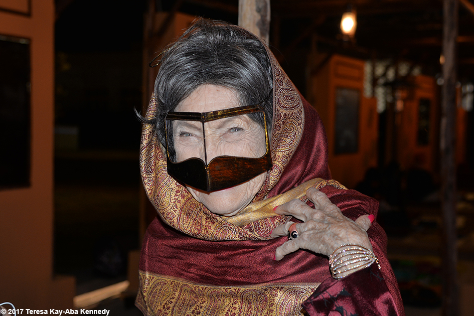 98-year-old yoga master Tao Porchon-Lynch wearing traditional mask at the Ethiad Museum in Dubai – February 11, 2017