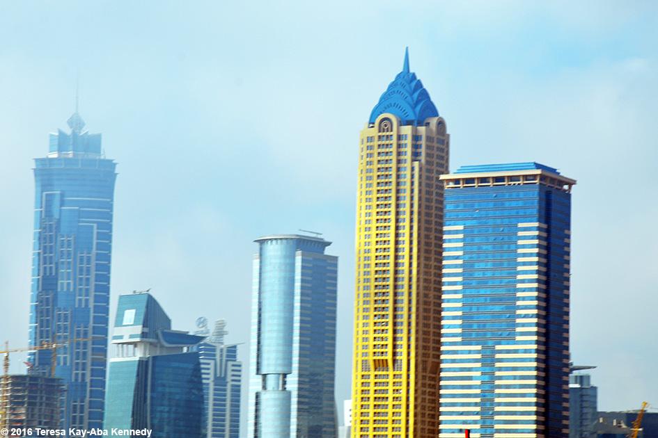Skyline in Dubai, United Arab Emirates - February 18, 2016